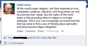 Dalai Lama FB Religion